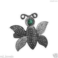 925 Sterling Silver Gemstone Emerald BUTTERFLY Ring Diamond Pave Fashion Jewelry