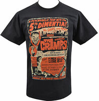 MENS BLACK T-SHIRT THE CRAMPS PSYCHOBILLY HORROR GIG FLYER GARAGE B-MOVIE S-5XL