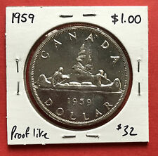 1959 Canada Silver One $1 Dollar Coin A18 - $32 - Proof Like
