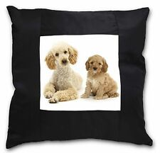 Poodle and Cockerpoo Black Border Satin Scatter Cushion Christmas Gi, AD-CP2-CSB