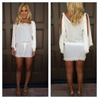 Sexy Womens Lace Backless Tops Scoop Neck Long Tunic Day Shift Beach Mini Dress