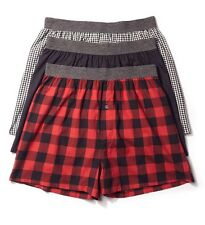 Basic Outfitters Men's 3-Pack Poplin Plaid Woven Boxers - Red, Lg.