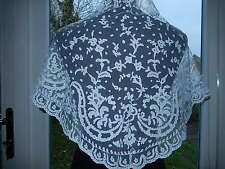 "ANTIQUE BEAUTIFUL VICTORIAN APPLIQUE LACE SHAWL BRIDAL MANTILLA 61 1/2"" x 19"""