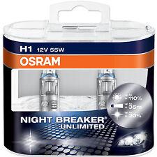 H1 OSRAM NIGHT BREAKER UNLIMITED BULBS 12v 55w 110% EXTRA Light New
