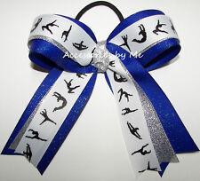 Gymnastics Bow Glitter Royal Blue Silver Ribbon Girls Kids Gymnast Gymnastic