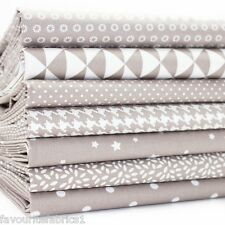 7 X FQ BUNDLE - PALE TAUPE MONO GEOMETRICS 100% COTTON FABRIC stars  dogtooth