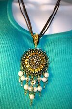 """WHITE HOUSE BLACK MARKET necklace 20"""" antique gold w/ gold crystal & faux pearl"""