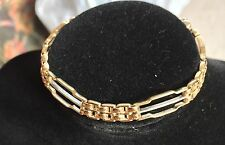 9ct Solid Yellow & White Gold 3 Bar-Gate Bracelet (11.3g)