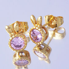 1Pair Girls Stud Earrings Pink CZ Rabbit Ears 24K Yellow Gold Filled Ear Cuff