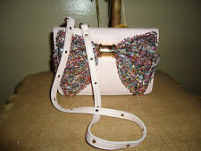 BETSEY JOHNSON OH BOW SEQUIN BLUSH PINK CROSSBODY WALLET PURSE BAG SOLD OUT NWT