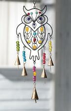 Wind Chime Owl Bell Hanging Beaded Black Metal Fair Trade Indoor Garden New