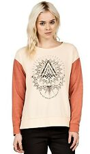 2015 NWT WOMENS VOLCOM TRAIL BEHIND CREW PULLOVER SWEATER $45 S pale peach soft