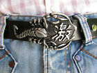 New Men Big Long Silver Metal Cowboy Western Fashion Belt Buckle Black Scorpion
