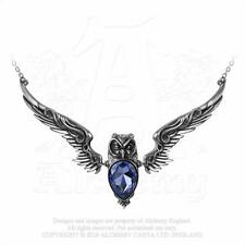 New Alchemy Gothic Pewter Stryx Blue Crystal Owl Statement Pendant Necklace P753