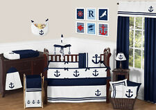 Designer Blue Sailor Anchors Nautical Theme Baby Boy Crib Bedding Set Collection