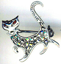 Plata Esterlina 925 Con Marquesitas Y Granate A Pie De Gato Broche 22mm X 22mm