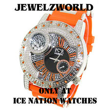 MENS ICED OUT SILVER/ORANGE ICE NATION HIP HOP WATCH WITH SILICONE BULLET BAND