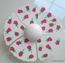 UNIQUE HAND PAINTED VINTAGE METAL ENAMEL FLOWER PIN PINK/MAUVE ROSE BUD DETAILS