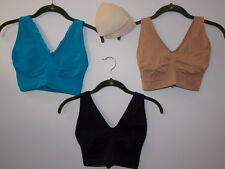 "Rhonda Shear Comfort Support ""Ahh"" Bra 3-pack w/Removable Pads-BLUE-XL-NEW"