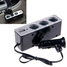3 Way Car Cigarette Lighter Socket Splitter DC Power Charger Adapter + USB 12V