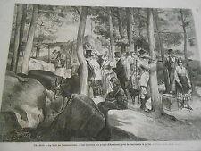 Gravure 1872 - Forêt de Fontainebleau Les Touristes aux gorges d'Apremont