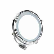 SABICHI LED COSMETIC MAKEUP AJD ANGLE BATHROOM SHAVING CHROME ROUND MIRROR