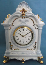VINTAGE CORAL JAPAN BLUE GOLD CERAMIC ALARM CLOCK MANTEL WIND UP SPARES REPAIR