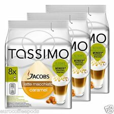Tassimo Jacobs Latte Caramel Macchiato Coffee 3 Pack 48 T-Disc 24 Servings