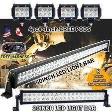 """50"""" + 20INCH LED WORK LIGHT BAR +4X 4"""" CREE PODS OFFROAD SUV JEEP FORD ATV 52/22"""