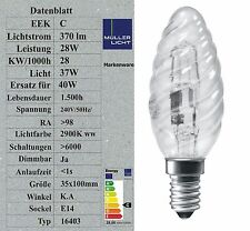 Müller-Licht E14 Halogen Kerze Kerzenlampe gedreht 28W (37W) Glühbirne 16403