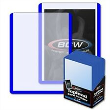 100 COLOR BORDER TOP LOAD CARD HOLDERS BLUE RED WHITE PLUS FREE SLEEVES