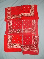 LOT of 6 VTG Bandanas Made USA RED Cowboy Handkerchiefs Paisley