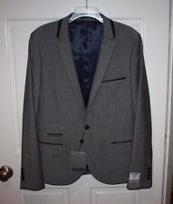 NWT Mens $280 TOPMAN Gray Skinny Fit Blazer Jacket Size Chest 42 / 106cm