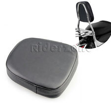 Motorcycle Passenger Seat Backrest Pillion Cushion Pad For Harley Choppers Black