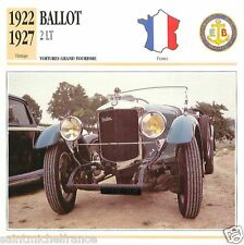 BALLOT 2LT 1922 1927 CAR VOITURE FRANCE CARTE CARD FICHE