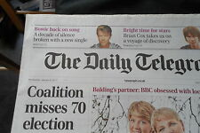 DAVID BOWIE THE DAILY TELEGRAPH 9/1/13 PIC ON COVER AND PAGE FEATURE INSIDE