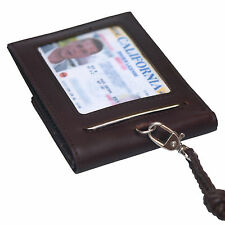 Genuine Leather ID Badges Holder Slim Credit Card Neck Strap Wallet For Womens