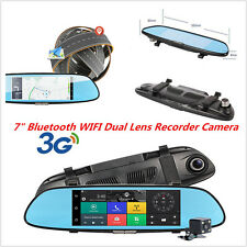 "7"" HD Android 3G WIFI GPS Rear View Mirror Dash Video Recorder Car DVR Dual Lens"