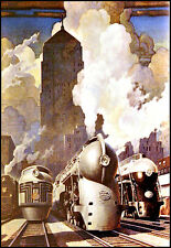 Art Deco New York Central System Trains  Travel Ad  A3 Art Poster Print