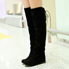 Vintage Womens Hidden heel Lace up back Fold Faux Suede Over knee boots Sz 34-47