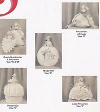 ANTIQUE-VINTAGE(1/2)-HALF-DOLL PINCHUSHION/NEEDLE HOLDER/POWDER PUFF&BOX PATTERN