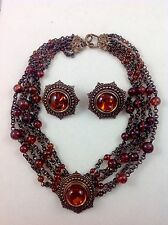 STEPHEN DWECK 1990 AMBER STONES BRONZE SET OF NECKLACE AND EARRINGS