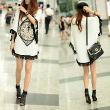 Korean Women Batwing Tassel Sleeve Loose Casual Long T-shirt Blouse Tops White
