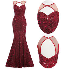 Sequin Long WINE RED Bridesmaid Evening Dress Cocktail Prom Ball Gown UK SIZE 14