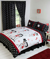 DOUBLE BED DUVET COVER SET BETTY BOOP SUPERSTAR BLACK WHITE RED LIPS HEARTS