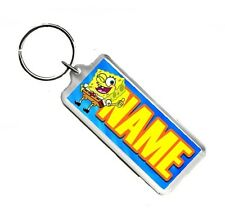 Personalised Spongebob Any Name Number Plate Style Rectangle Keyring