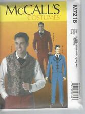 McCALL'S MENS COSTUMES JACKET WAISTCOAT TROUSERS BOW TIE SIZE SML - XXL 7216