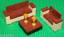 Lego 2x Reddish Brown-Tan Sofa with Table and 2x Gold Goblet NEW!!!