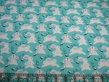 3 Yards Quilt Cotton Fabric - Fabric Traditions Easter Bunny Running on Aqua Glt