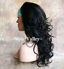New Black 3/4 cap Fall Hairpiece Long Wavy Half Wig Layered Hair Piece #1B